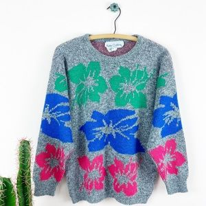 VTG 80s Kate Collins Hawaiian Floral Sweater